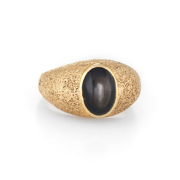 Natural Black Star Sapphire Ring 14k Yellow Gold Estate Fine Jewelry Mens 8.5