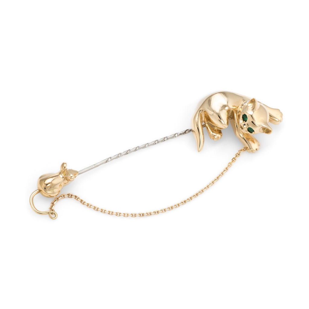 Cat & Mouse Brooch Vintage 18k Gold Pink Diamond Emerald Fine Animal Jewelry