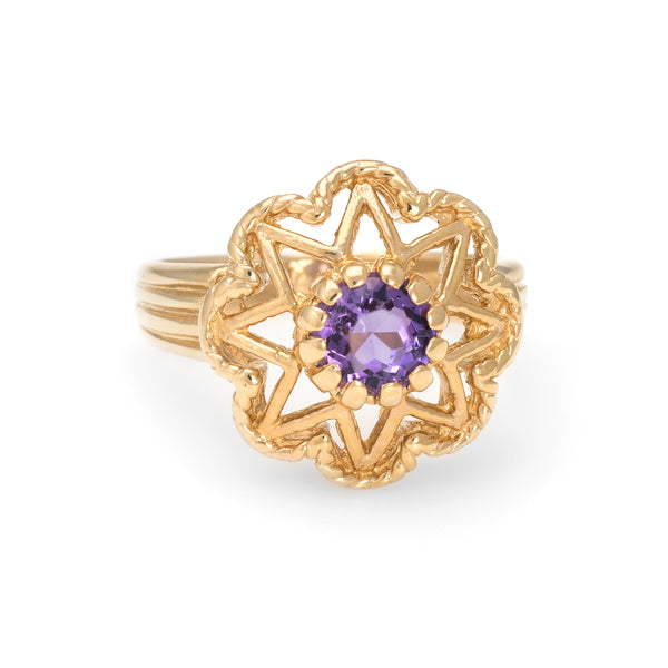 Vintage Amethyst Ring 14k Yellow Gold Round Star Mount Estate Fine Jewelry 5.75