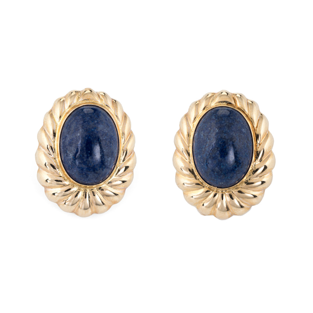 Vintage Sodalite Earrings 14k Yellow Gold Large Oval Estate Fine Jewelry