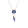 Vintage Lapis Lazuli Necklace Drop Round Disc 14k Yellow Gold Estate Jewelry