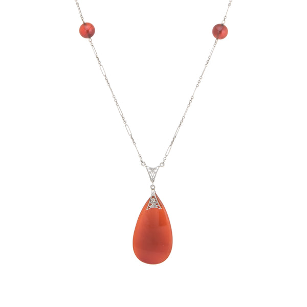 Antique Deco Carnelian Necklace 14k White Gold Filigree Long 24