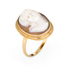 Vintage Cameo Ring 18k Yellow Gold Estate Fine Jewelry Oval Sz 6 1/4 High Relief