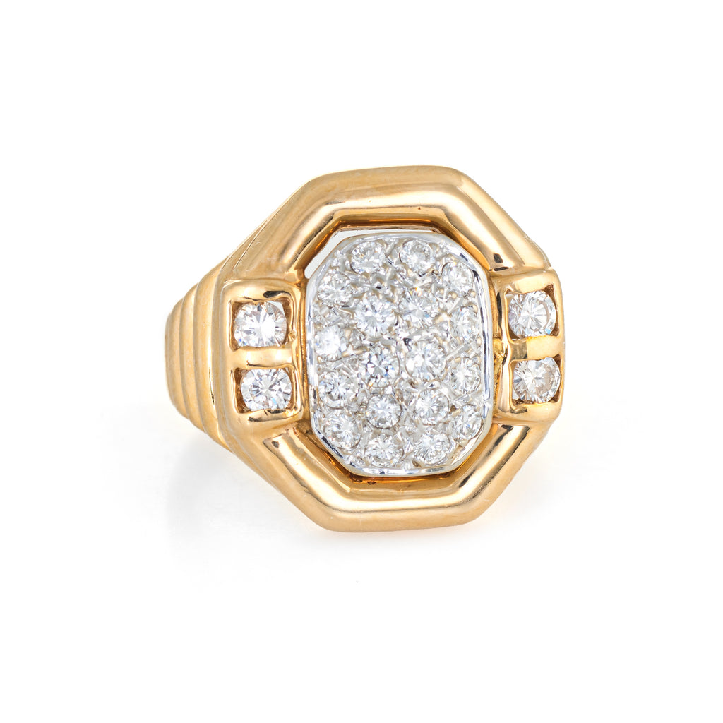 Vintage Pave Diamond Ring 14k Yellow Gold Square Octagonal Cocktail Jewelry 6.25