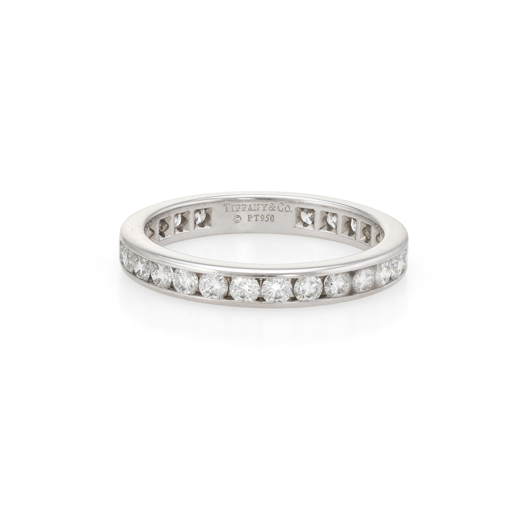 f48320a3a Estate Tiffany & Co 1ct Diamond Wedding Band Sz 7 Platinum 3mm Wide Ri –  Sophie Jane
