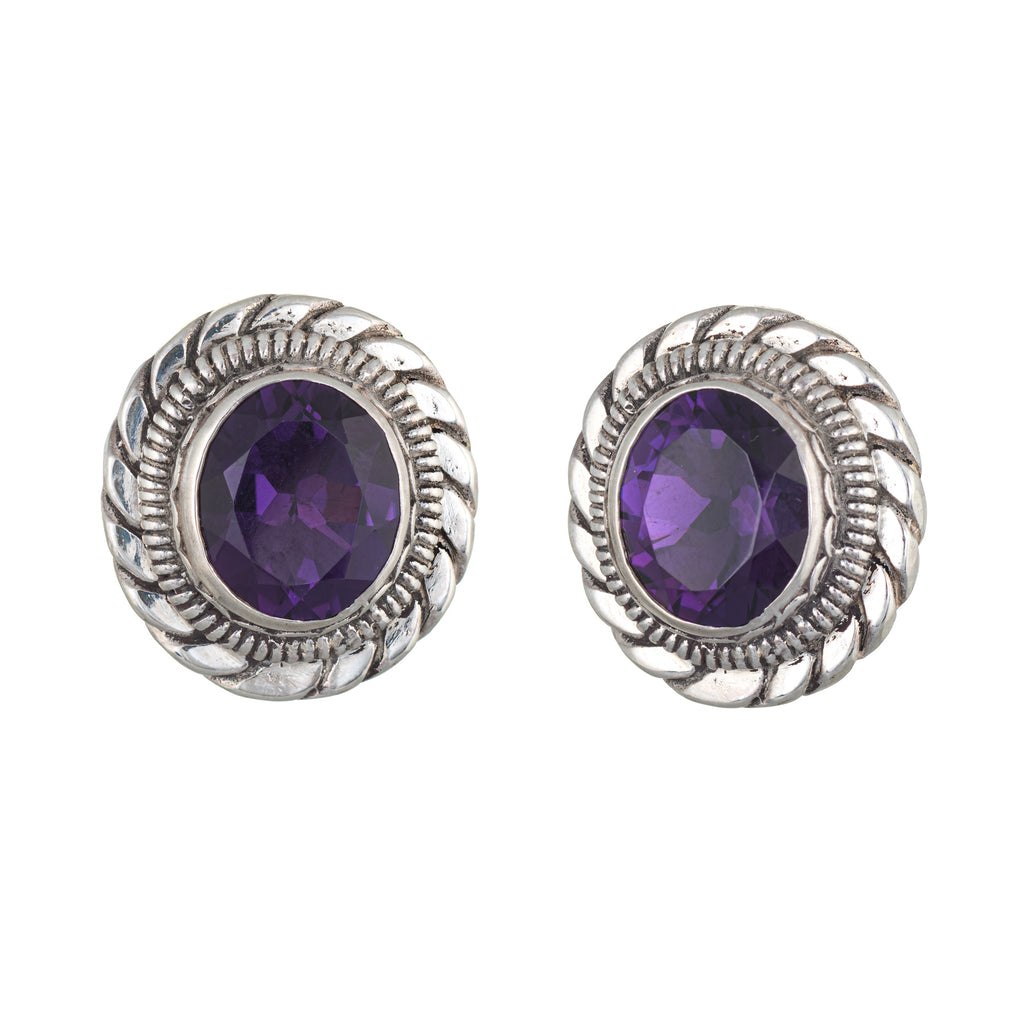 Stephen Dweck Amethyst Earrings Silver Round Clip On Estate Fine Jewelry
