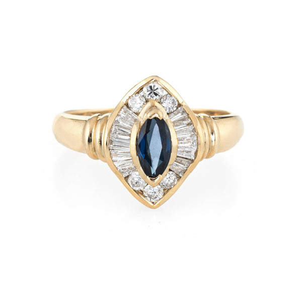 Marquise Sapphire Diamond Ring Vintage 14k Yellow Gold Estate Fine Jewelry 7.75
