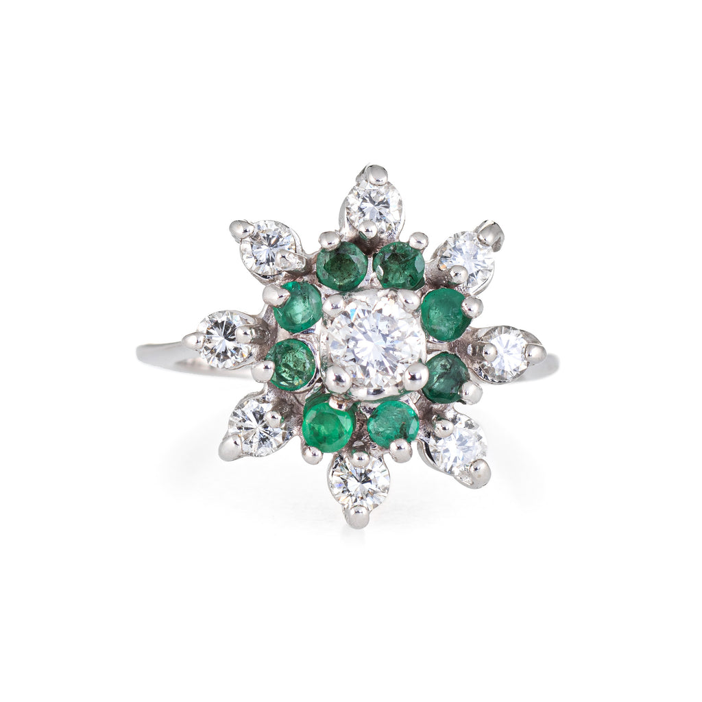 Emerald Diamond Ring Vintage 14k White Gold Round Cocktail Ring Cluster Jewelry