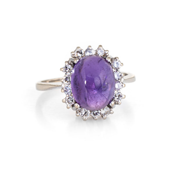 Cabochon Amethyst Diamond Ring Vintage 14k White Gold Princess Cocktail Jewelry
