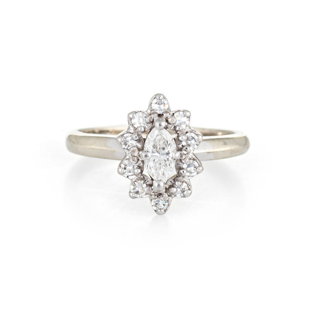 Vintage Diamond Engagement Ring Marquise Princess 14k White Gold Jewelry 4