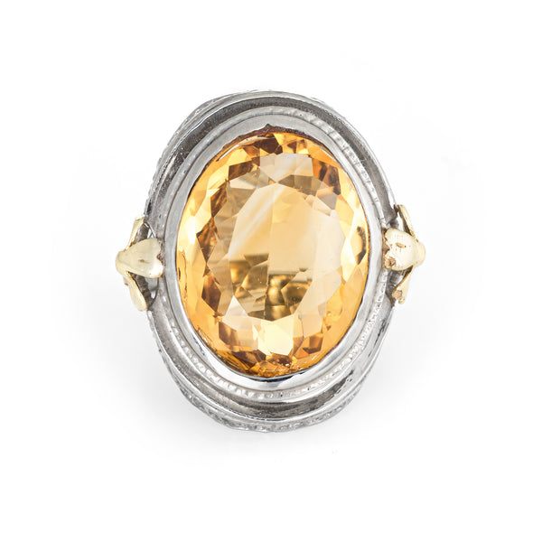 Antique Deco Citrine Ring 10k White Gold Filigree Cocktail Jewelry Vintage Sz 5