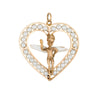 Winged Angel Heart Charm Vintage 14k Yellow Gold Cultured Pearl Cherub Jewelry