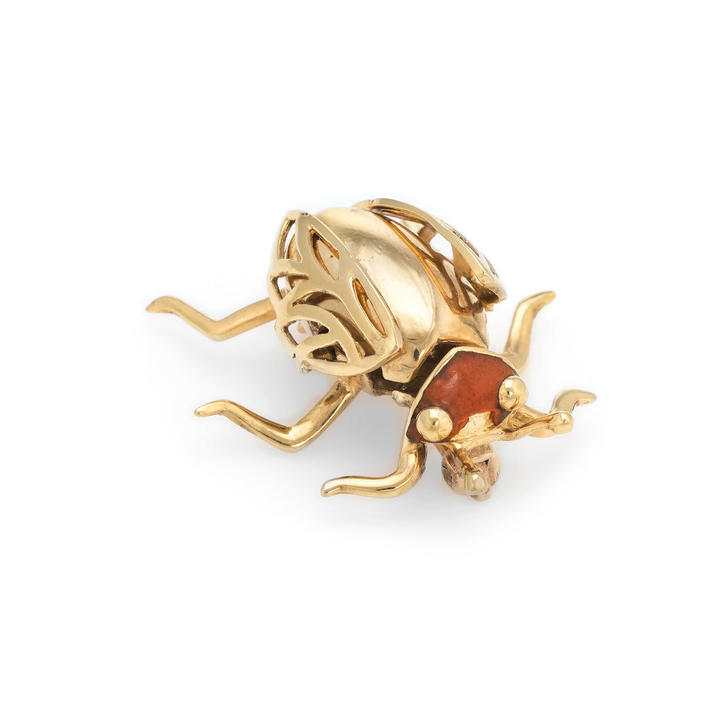 Vintage Enamel Beetle Bug Insect Brooch Pin 14k Yellow Gold Estate Jewelry