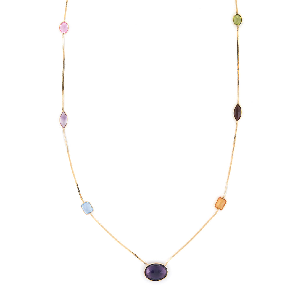 Rainbow Gemstone Necklace Vintage 14k Yellow Gold