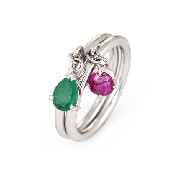 Set of 2 Rings Charm Vintage Ruby Emerald 14k White Gold Estate Jewelry 5.75