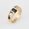 Sapphire Diamond Band Vintage 14k Yellow Gold Sz 4 Pinky Ring Estate Jewelry