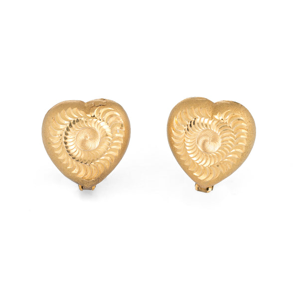 Textured Heart Earrings Vintage 18k Yellow Gold Estate Fine Jewelry Studs