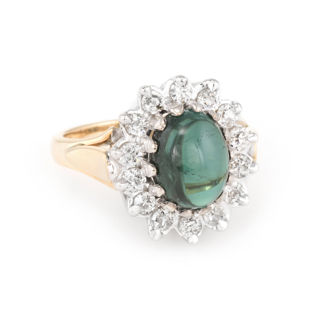 Green Tourmaline Diamond Princess Cocktail Ring