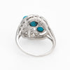 Vintage Turquoise Diamond Ring 14k White Gold Cocktail Jewelry Estate Fine 9.5