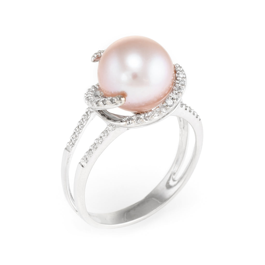 Cultured Pink Pearl Diamond Cocktail Ring