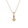 Citrine Diamond Drop Necklace Estate 14k Yellow Gold