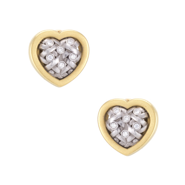 Kieselstein Cord Heart Diamond Weave Earrings Circa 2003