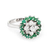 Emerald Diamond Cluster Ring Vintage 14k White Gold