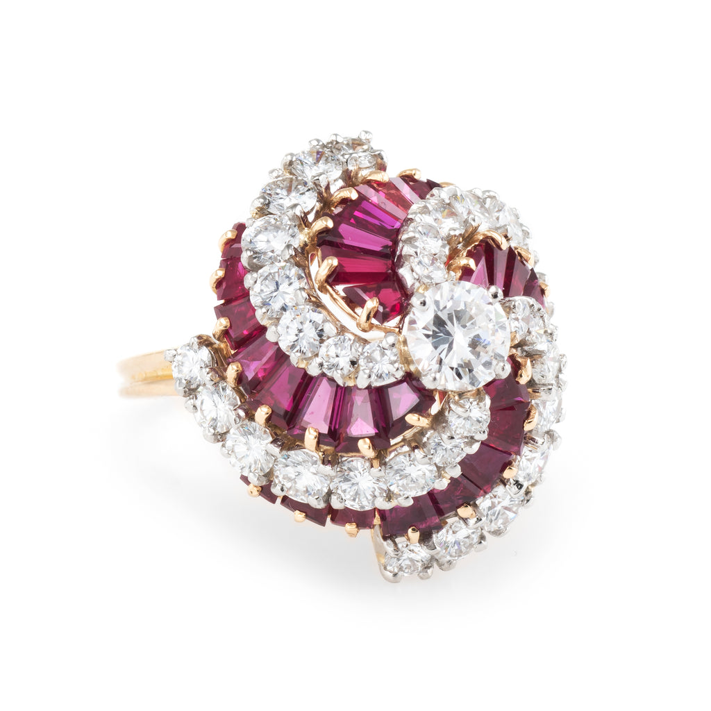 Oscar Heyman vintage diamond & ruby cocktail ring