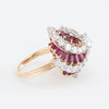 Oscar Heyman Diamond Ruby Domed Swirl Cocktail Ring