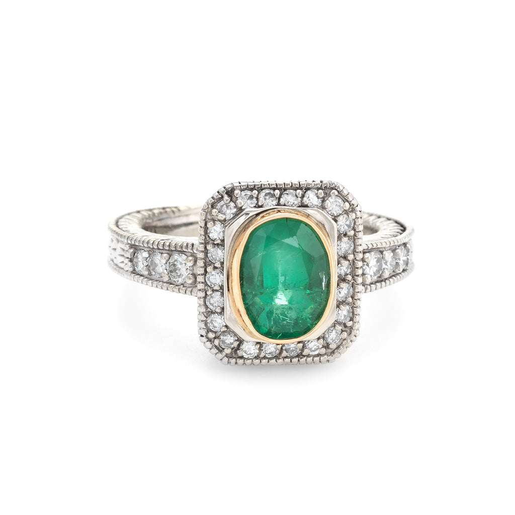 Vintage Emerald Diamond Ring 14k White Gold Square Cocktail Engagement Jewelry