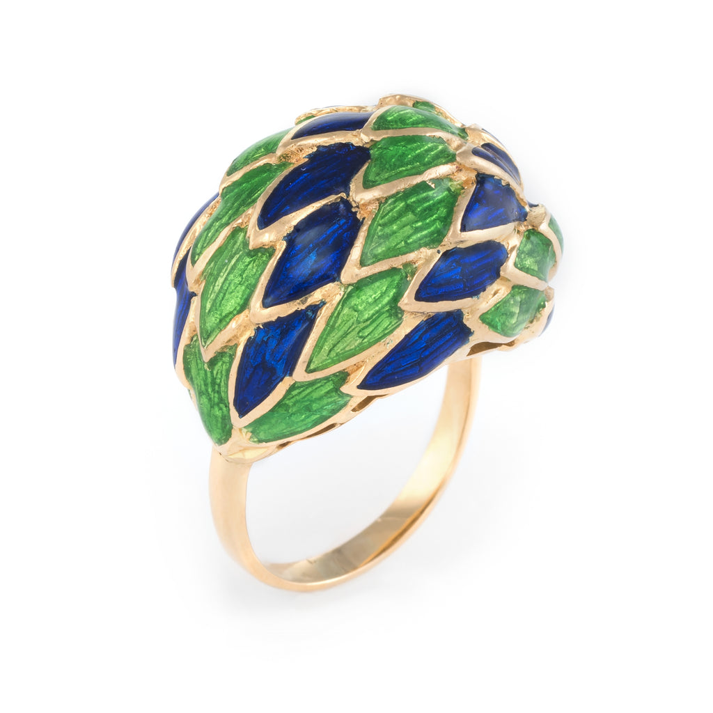 Sophie Jane Vintage Enamel Feather Ring