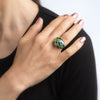 Green & Blue Enamel Feather Domed Cocktail Ring