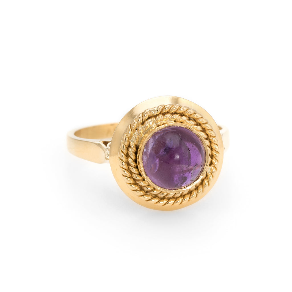 Vintage Cabochon Amethyst Ring 18k Yellow Gold Stacking Round Estate Jewelry