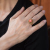 Carved Coral Cocktail Ring Vintage 14k Yellow Gold