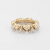 Vintage Puffed Hearts Eternity Ring Diamond 18k Two Tone Gold Sz 5.75 Jewelry