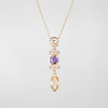 Mixed Gemstone Drop Necklace Aquamarine Amethyst