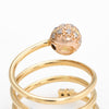 Vintage Pave Diamond Orb Ring 18k Yellow Gold Coiled Band Estate Spring Jewelry