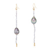 L Frank Long Baroque Pearl Drop Earrings Pre Owned