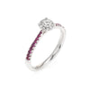 Vintage Diamond Ruby Halo Ring 18k White Gold Estate Fine Jewelry Engagement
