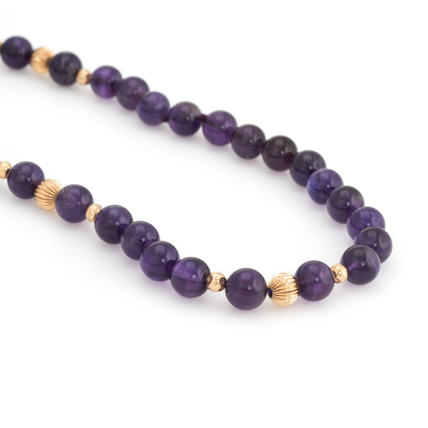 Vintage 10mm Amethyst Bead Necklace 14k Yellow Gold 32
