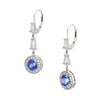 Vintage Diamond Tanzanite Earrings Drops 14k White Gold Estate Fine Jewelry