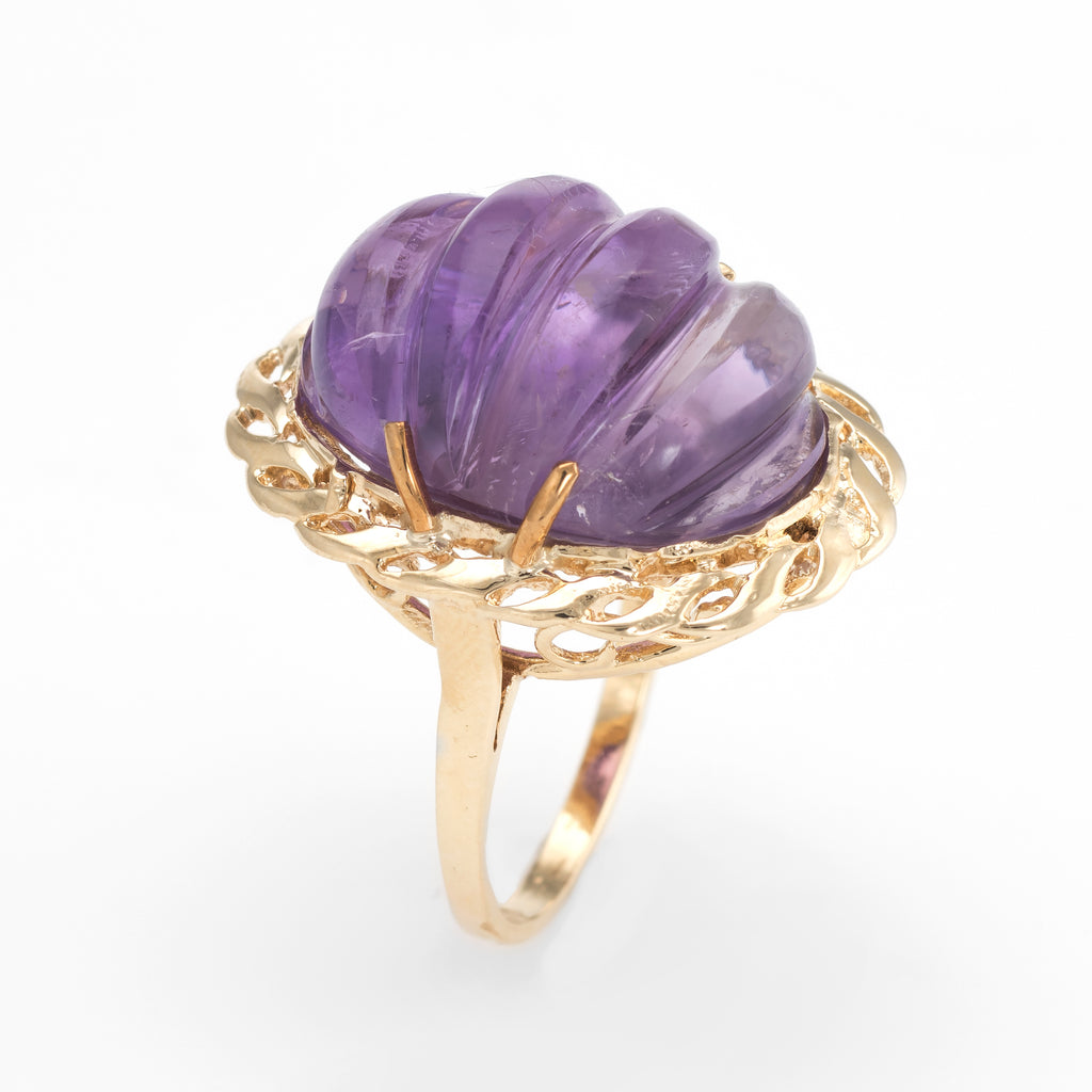 Vintage Fluted Amethyst Ring 14k Yellow Gold Oval Cocktail Estate Fine Jewelry