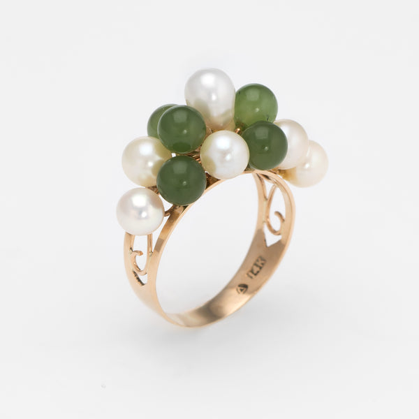 Vintage Jade Cultured Pearl Ring 14k Yellow Gold Estate Fine Jewelry Sz 5.5