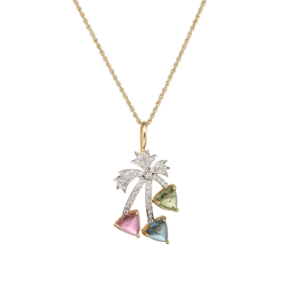 Vintage Palm Tree Pendant Necklace Diamond Sugarloaf Tourmaline Peridot Jewelry