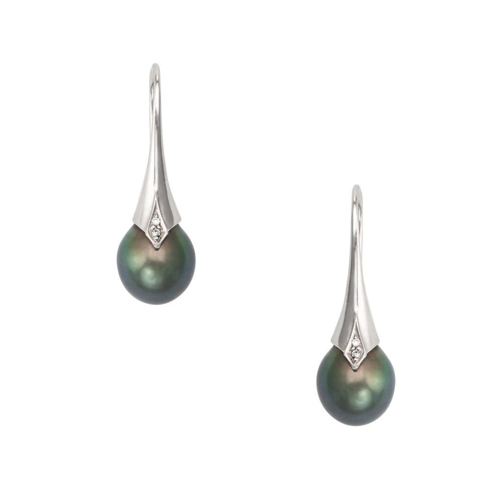 Freshwater Black Pearl Diamond Drop Earrings Estate 18k White Gold Jewelry