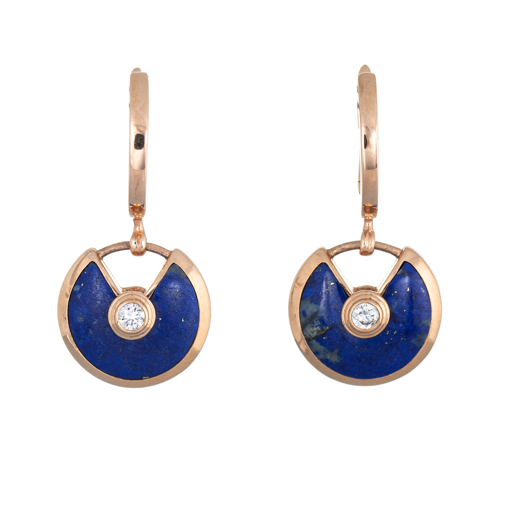 Amulette De Cartier Earrings Lapis Lazuli Diamond 18k Rose Gold Estate Jewelry