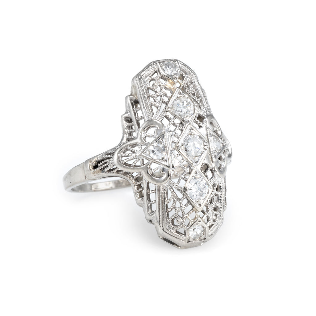 Antique Art Deco Diamond Filigree Ring