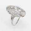 Antique Deco Diamond Filigree Cocktail Ring Vintage 14k