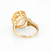 Vintage Lemon Quartz Ring 10k Yellow Gold Cocktail Statement Jewelry Sz 7.25