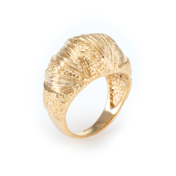 Textured Dome Cocktail Ring Vintage 14k Yellow Gold